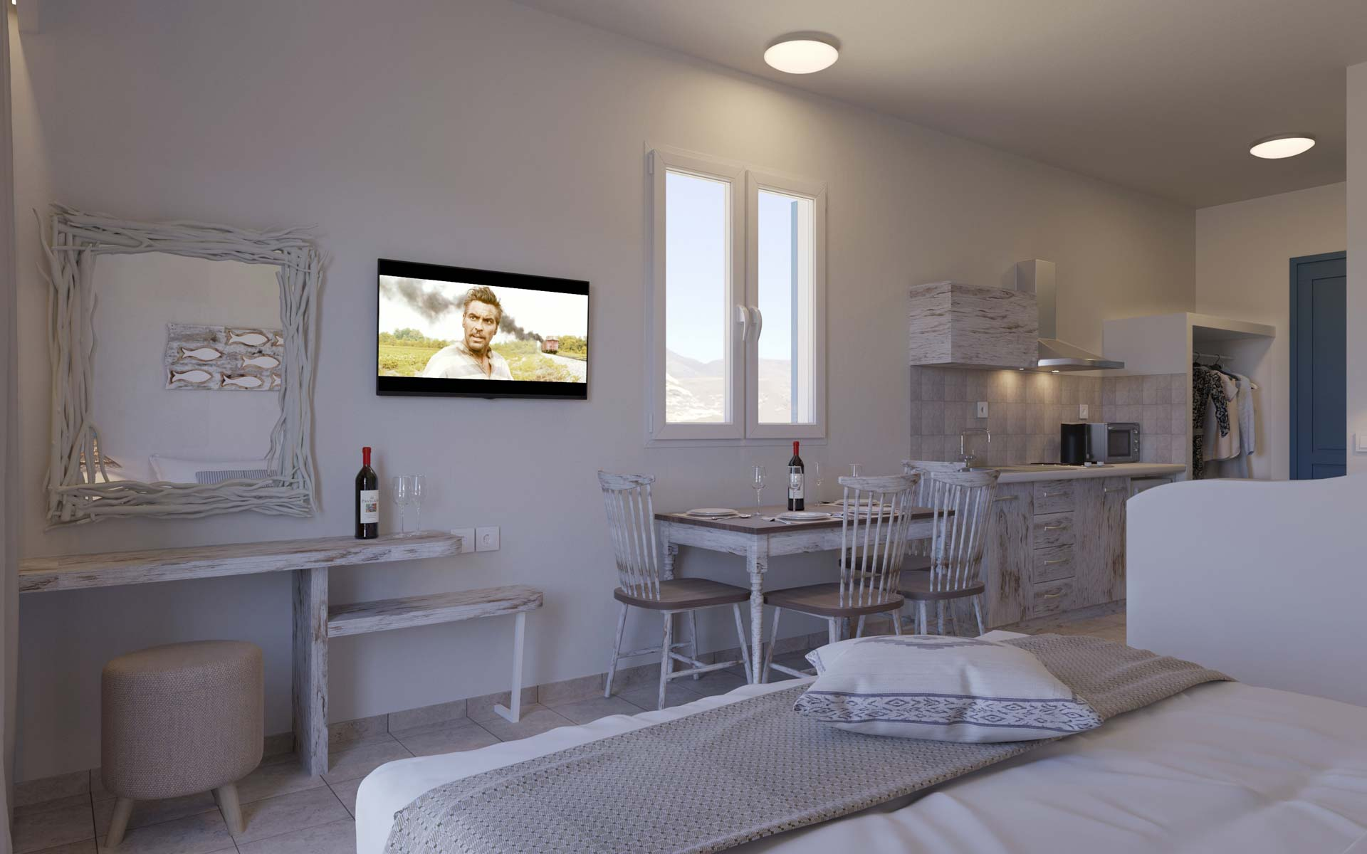 Agean-Sea-And-Acropolis-View--New-Renovated-Superior--kitchen-and-inside-Area-1B--6B